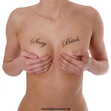 "2 ""Sexy Bitch"" Tattoo Schriftzug in schwarz - Sexy Kinky Tattoos Lettering"