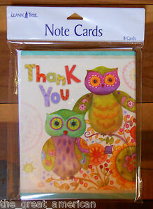 8 Leanin Tree Note Cards THANK YOU, Whimsical Colorful OWLS by Sue Zipkin USA
