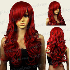 "28"" Heat Resistant Dark Red Curly Long Cosplay Wigs with Side Bangs 70DDR"