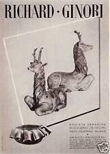 PUBBLICITA' 1939 RICHARD GINORI STATUA CERVO CERAMICA PORCELLANA  FIRENZE