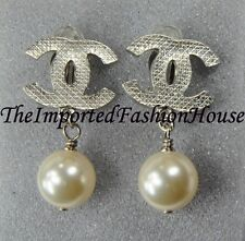 AUTHENTIC CHANEL LARGE CLASSIC QUILTED CC PEARL DROP SILVER DANGLE CLIP EARRINGS