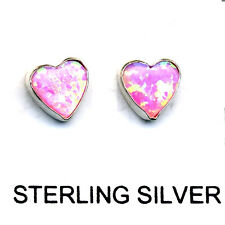 Sterling Silver .925 Stud Post Earrings 6 mm Heart Shaped Pink Opal Stone