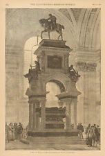 Royalty, Monument, Duke Of Wellington, St. Paul's Cathedral, Antique Art Print.