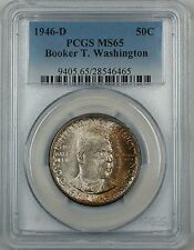 1946-D Booker T. Washington Silver Half Dollar Coin PCGS MS-65 Nicely Toned Gem