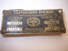 AUTHENTIC GERMAN PLATE TELEPHONE FABRIK BERLINER-WWII