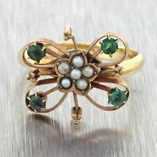 1880s Antique Victorian 14k Solid Yellow Gold Pearl Emerald Butterfly Ring