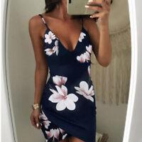 Women Halter Floral Summer Ladies Ruffle Midi Dress Party Sling Bodycon Dress
