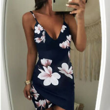 Women Sexy V-neck Summer Floral Bodycon Evening Party Cocktail Short Mini Dress
