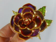 JOAN RIVERS PLIQUE A JOUR LARGE IPEN ROSE FLOWER GOLD PLATED BROOCH PIN EX COND