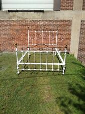Antique Rare iron  brass ribbon curved footboard bed,selling out make offer