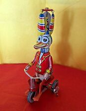 Tin Litho Duck Wind Up Toy Western Germany Pedals Tricycle Helicopter Top Spins