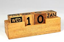 NEW wooden block perpetual desktop calendar PREMIUM solid Acacia wood. UK Seller