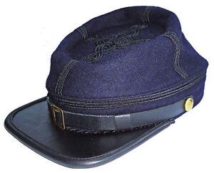 Civil War Union officer's Infantry leather Peak Kepi, Navy Blue with Black rows