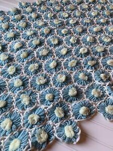 Vintage Crochet Daisy Flowers Afghan Lap Blanket Blue Yellow 58 X 38