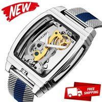 Mens Flywheel Bridge Movement Exhibition Manual Mechanical Wrist Watch Blue