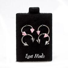 Horseshoe Ring 4pc Circular Barbell Pink & Black Stripe Spike 18G Nose Lip Ear
