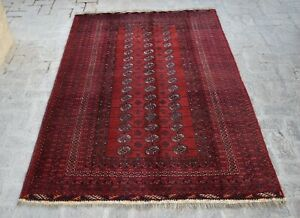 5'3 x 8'1 Fine quality vintage handmade afghan turkmen bukhara rug, Unique rug