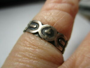 STERLING SILVER 925 ESTATE VINTAGE TAXCO GEOMETRIC BAND RING SIZE 5.5