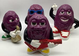 vtg Ceramic Original California dancing raisins set of 4. Music Figures