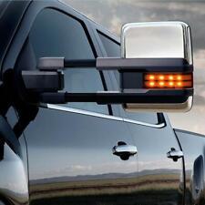 Pair Chrome 2014-18 Silverado GMC Sierra Towing Mirror Power Heated LED Signal