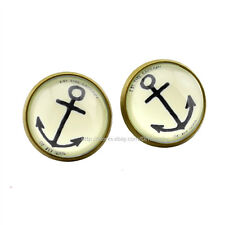15mm Anchor Stud Earrings Glass Cabochon Earring Nautical Womens Jewelry