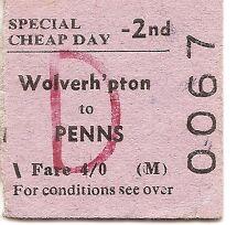 B.T.C. Edmondson Ticket - Wolverhampton to Penns