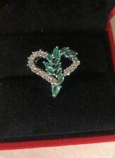 Diamond And Emerald Pendant In White Gold