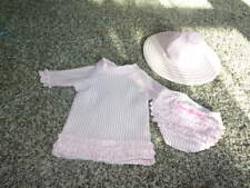 NWOT NEW RUFFLE BUTTS 6-12 PINK STRIPED BIKINI SET AND HAT