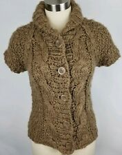 VIVIENNE TAM Chunky Sweater Jacket Small Short Sleeve Brown Cardigan Big Buttons