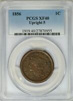 1856 PCGS 1C Braided Hair Large Cent/Penny Extra Fine XF40 Upright 5