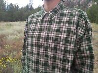 Vintage LL BEAN Green & Tan  Plaid Corduroy Flannel Shirt Mens XL - REG