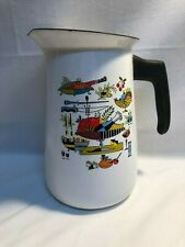 Vintage White Enamel Pitcher Old Graniteware Enamelware Black Trim Folk Art