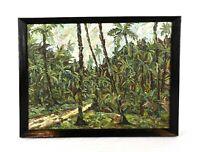 Vintage Mid C Modern Art Impasto Oil Painting Jungle Rainforest Landscape Signed