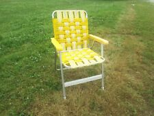 ALUMINUM FOLDING PLASTIC WEBBED LAWN CHAIR, PLASTIC ARMS, YELLOW