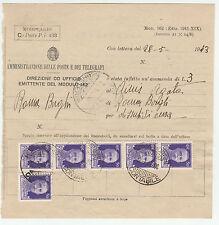 FRANCOBOLLI 1943 REGNO C. 50 (X6) SU MODULO 162 AMMENDA 28/5 Z/1773