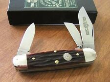 QUEEN New Amber Carved Stag Bone Handle 3 Blade Rail Splitter Knife/Knives