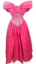 Vintage Prom Dress 6 Mike Benet Pink Shiny Sequin 80s 90s Princess Gown Long