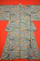 Vintage Japanese Silk Antique BORO KIMONO Kusakizome KOMON Dyed Textile/YC80/640