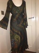 Zara Psychedelic Dress Sz8 Chiffon Tie Back 1970s Style MIDI Boho Gypsy