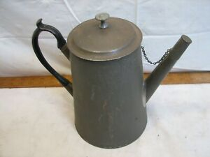 Antique Soldered Colonial Tin Coffee Pot Pitcher Handled Lid Tea Teapot Strainer