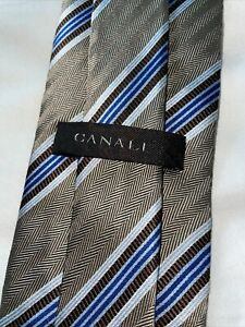 Mens Canali 60 X 3.5 BLUE BROWN STRIPES Neck Tie Made In Italy