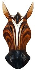 Schöne 20 cm Antilope Holz Maske Afrika Zebra Wandmaske Handarbeit Bali Maske72