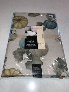 """Colordrift Thanksgiving Fabric Tablecloth 60"""" x 104"""" Pumpkin Blue Beige Taupe"""