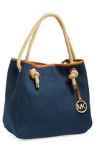 Michael Kors Large Navy Blu Marina Tote Shoulder Bag Outside Pocket Rope Handles
