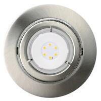 1er Set LED Einbaustrahler schwenkbar 25° WIDEBEAM IP23 Warmweiß 6,5W Nickel