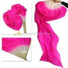 Ventaglio Fan Fibre Bambù Rosa Scuro Veli Ultra Lunghi Ballo Danza del Ventre