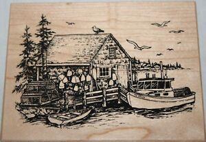 PSX K-2893 Lakeside Boathouse Lobster Shack Rubber Stamp 1999