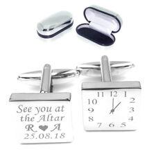 Personalised Silver Engraved SQUARE mens wedding cufflinks Groom ALTAR LUX