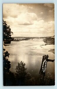 EARLY 1900s WISCONSIN RIVER VIEW FROM THE DAM - RPPC - J7
