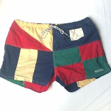 Nautica Color Block Flags Swim Trunks Navy Green Red Board Shorts Large Vintage